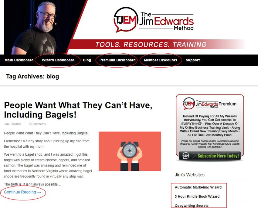 Jim Edward blog web page CTA