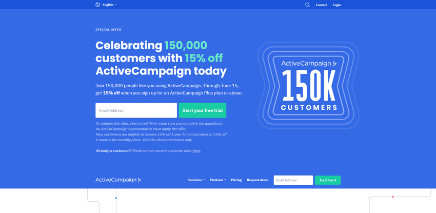 active campaign get started landing page