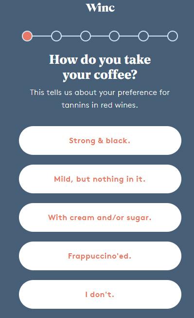 Winc survey page