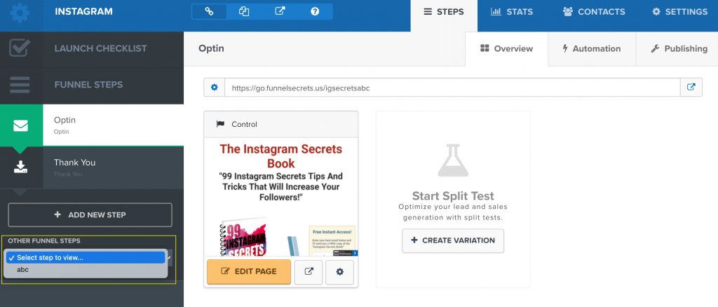 How to delete funnel step in Clickfunnels 2