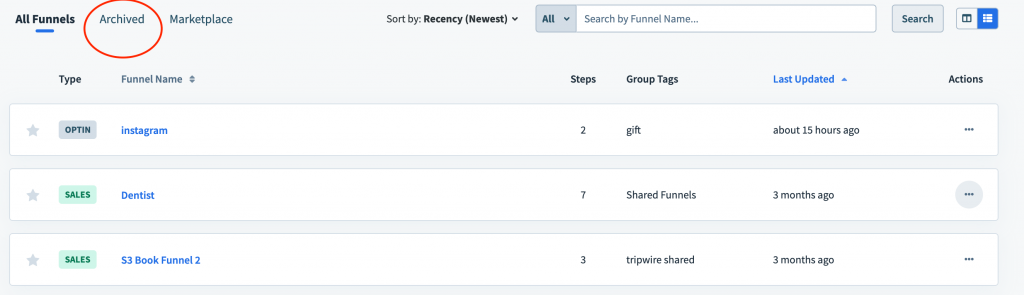 How to restore archived funnel in Clickfunnels