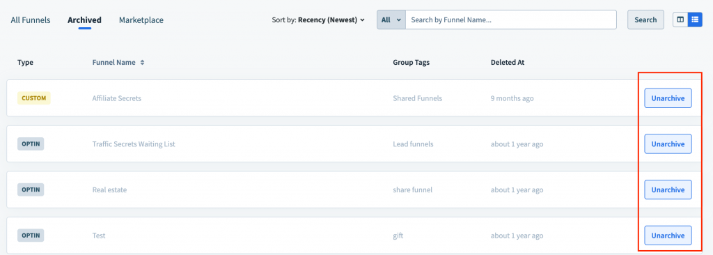 How to restore archived funnel in Clickfunnels 2