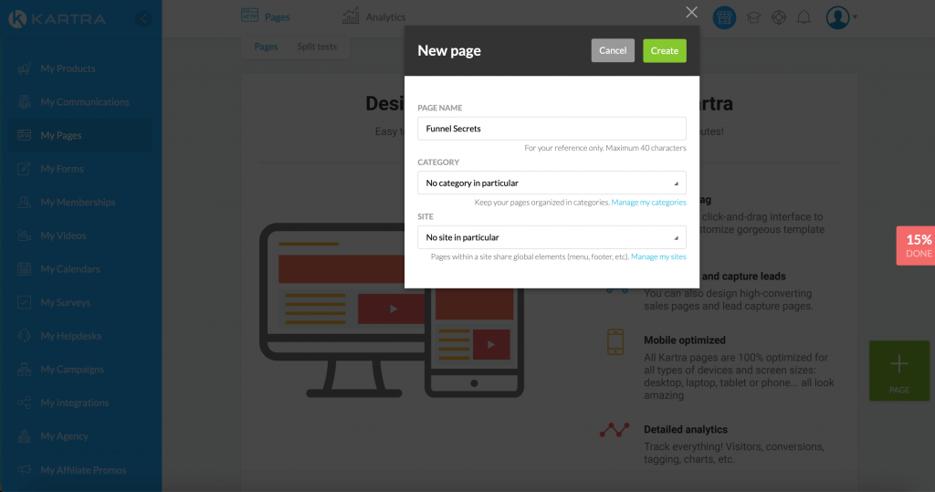 Create a landing page in Kartra