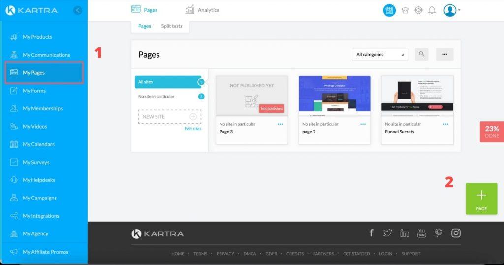 Kartra landing page builder