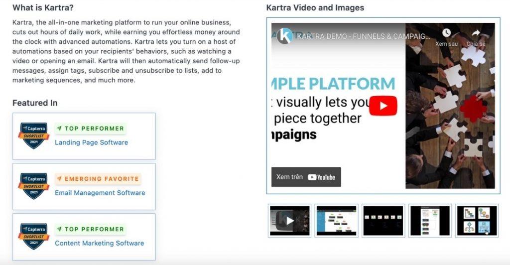 Kartra performer landing page software