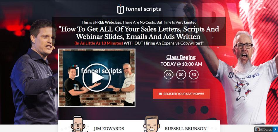 funnel scripts webinar registion